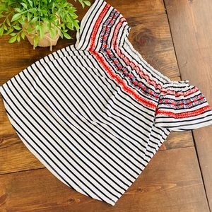 THML off the shoulder striped top size XS